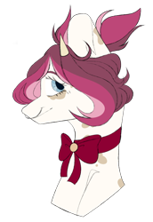 Size: 1024x1489 | Tagged: safe, artist:chococolte, oc, oc:buttermilk, cow, cow pony, pony, bust, female, mare, nose piercing, nose ring, piercing, portrait, solo