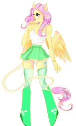 Size: 718x1188 | Tagged: safe, artist:nebulaeye, fluttershy, anthro, unguligrade anthro, boots, clothes, miniskirt, shoes, simple background, skirt, socks, solo, tanktop, thigh highs, white background