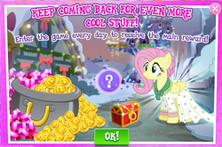 Size: 1037x687 | Tagged: safe, flutterholly, fluttershy, advertisement, clothes, coin, dress, gameloft, gem, snow, solo