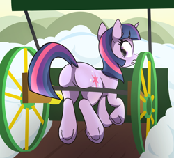 Size: 3236x2939 | Tagged: safe, artist:wenni, twilight sparkle, pony, unicorn, series:pony re-watch, winter wrap up, butt, butt squish, dock, female, i watch it for the plot, looking back, mare, open mouth, plot, rear view, scene interpretation, shocked, snow, snow plow, solo, squishy, twibutt, underhoof, unicorn twilight