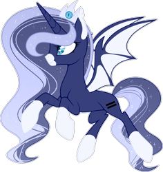 Size: 2706x2868 | Tagged: safe, artist:rerorir, princess luna, alicorn, bat pony, bat pony alicorn, pony, alternate design, equal cutie mark, equalized, high res, race swap, simple background, solo, transparent background