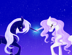 Size: 1852x1404 | Tagged: safe, artist:whitewing1, oc, oc only, pony, unicorn, female, horn, horns are touching, mare, night