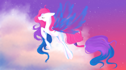 Size: 3277x1829 | Tagged: safe, artist:whitewing1, oc, oc:fei, pony, artificial wings, augmented, female, flying, magic, magic wings, mare, solo, wings