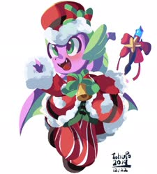 Size: 1847x2048 | Tagged: safe, artist:tohupo, spike, dragon, christmas, clothes, coat, cute, hat, holiday, male, simple background, solo, spikabetes, white background, winged spike
