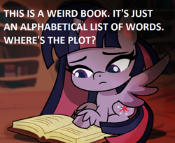 Size: 766x629 | Tagged: safe, artist:galacticflashd, edit, twilight sparkle, alicorn, my little pony: pony life, book, dialogue, dictionary, golden oaks library, irony, out of character, solo, too dumb to live, twilight sparkle (alicorn)