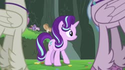 Size: 1920x1080 | Tagged: safe, screencap, silverstream, starlight glimmer, terramar, classical hippogriff, hippogriff, pony, student counsel, brother and sister, closed wing, female, low angle, male, mushroom, siblings