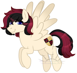 Size: 1839x1741 | Tagged: safe, artist:nekomellow, oc, oc only, oc:porsche speedwings, pegasus, pony, black and red mane, blue eyes, flying, looking at you, obtrusive watermark, pegasus oc, ponyvania, simple background, solo, spread wings, tan coat, transparent background, vector, watermark, wings