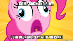 Size: 600x337 | Tagged: safe, edit, edited screencap, screencap, pinkie pie, filli vanilli, caption, image macro, it: chapter two, ponk, text