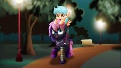 Size: 800x451 | Tagged: safe, artist:jhayarr23, cozy glow, oc, oc:bitmaker, bat pony, pony, amputee, bench, male, night, ponies riding ponies, prosthetic leg, prosthetic limb, prosthetics, riding, stallion, statue, streetlight, tree