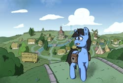 Size: 2131x1443 | Tagged: safe, artist:husdur, oc, oc only, oc:tinker doo, cloud, glasses, looking back, ponyville, ponyville town hall, road, saddle bag, scenery, solo, teary eyes, windmill