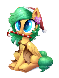 Size: 1140x1493   Tagged: safe, artist:ravensunart, oc, oc only, pegasus, pony, candy, candy cane, cape, christmas, clothes, commission, female, flower, flower in hair, food, hat, holiday, mare, mouth hold, part of a set, santa hat, simple background, sitting, solo, white background, ych result