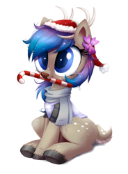 Size: 1095x1489   Tagged: safe, artist:ravensunart, oc, oc only, deer, antlers, candy, candy cane, christmas, clothes, commission, cute, deer oc, doe, female, flower, flower in hair, food, hat, holiday, mare, mouth hold, ocbetes, part of a set, santa hat, scarf, shirt, simple background, sitting, solo, white background, ych result