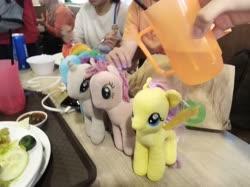 Size: 4032x3016 | Tagged: safe, photographer:horsesplease, fluttershy, pinkie pie, rainbow dash, rarity, comic fiesta, cup, imminent bath, malaysia, water