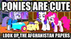 Size: 717x394   Tagged: safe, edit, edited screencap, screencap, maud pie, pinkie pie, rarity, the gift of the maud pie, afghanistan, dank memes, deep fried meme, meme, party cannon, wat, 🅱roject susannah