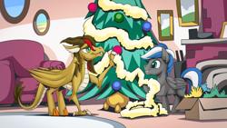 Size: 2560x1440   Tagged: safe, artist:mysticalpha, oc, oc only, oc:cloud zapper, oc:vector, dragon, pegasus, pony, christmas, christmas decoration, christmas tree, holiday, male, stallion, tree