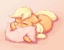 Size: 1076x835 | Tagged: safe, alternate version, artist:buttersprinkle, applejack, earth pony, pony, applebetes, cute, daaaaaaaaaaaw, female, floppy ears, hnnng, hug, jackabetes, pillow, pillow hug, simple background, sleeping, smiling, solo