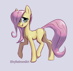 Size: 815x792 | Tagged: safe, artist:ivyredmond, fluttershy, pony, blank flank, cute, female, filly, filly fluttershy, looking at you, open mouth, raised hoof, raised leg, shyabetes, simple background, smiling, solo, white background, wingless, younger