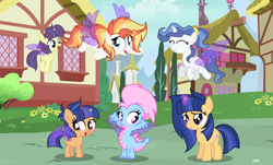 Size: 4152x2512 | Tagged: safe, artist:velveagicsentryyt, oc, oc:alice (velvetsentryyt), oc:galaxy swirls, oc:shine brine, oc:sky city, oc:starling, oc:velvet sentry, dragon, pony, unicorn, artificial wings, augmented, base used, female, filly, magic, magic wings, offspring, parent:fancypants, parent:fire streak, parent:rarity, parent:sunset shimmer, parents:cometdancer, parents:raripants, parents:sunsetstreak, wings