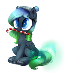 Size: 1366x1535   Tagged: safe, artist:ravensunart, oc, oc only, oc:midnight aura, pegasus, pony, beanie, candy, candy cane, christmas, clothes, commission, cute, female, food, hat, holiday, mare, mouth hold, ocbetes, part of a set, simple background, sitting, solo, white background, winter, ych result