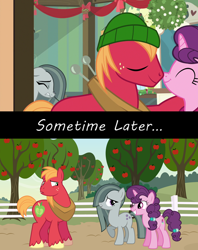 Size: 1280x1616 | Tagged: artist needed, safe, edit, edited screencap, screencap, big macintosh, marble pie, sugar belle, earth pony, pony, unicorn, best gift ever, a happy ending for marble pie, apple, apple tree, concerned, confused, conversation, episode idea, everything went better than expected, fanfic idea, female, friendship, friendshipping, happy ending, heartbreak, heartbroken marble, hilarity ensues, husband and wife, looking at each other, male, married couple, shipping, shocked, shocked expression, side chick, silence, smiling, straight, stunned, sugarmac, surprised, surprised face, sweet apple acres, tree, youtube link, youtube link in the description