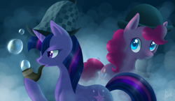 Size: 1147x667 | Tagged: safe, artist:lightning-stars, pinkie pie, twilight sparkle, earth pony, pony, unicorn, mmmystery on the friendship express, bowler hat, bubble, bubble pipe, deerstalker, fog, hat, pipe, sherlock hat, unicorn twilight