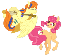 Size: 1021x915 | Tagged: safe, artist:whalepornoz, tex, oc, oc:rosie, earth pony, pegasus, pony, bandana, banjo, braid, eyes closed, flying, freckles, g1, g1 to g4, generation leap, musical instrument, offspring, parent:apple bloom, parent:tender taps, parents:tenderbloom, simple background, transparent background