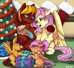Size: 2324x2144 | Tagged: safe, artist:breioom, fluttershy, oc, oc:soul harmony, pony, baby, baby pony, blank flank, canon x oc, christmas, christmas stocking, christmas tree, colt, family, female, filly, group picture, holiday, male, offspring, parent:fluttershy, parent:oc:soul harmony, parents:canon x oc, present, shipping, straight, tree