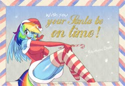 Size: 3103x2146 | Tagged: safe, artist:traupa, rainbow dash, anthro, adorasexy, big breasts, blushing, breasts, busty rainbow dash, candy, candy cane, christmas, chromatic aberration, clothes, costume, cute, dashabetes, engrish, evening gloves, food, gloves, hat, holiday, long gloves, one eye closed, postcard, santa costume, santa hat, schrödinger's pantsu, sexy, socks, solo, stockings, striped socks, stupid sexy rainbow dash, sugar cane, thigh highs, thighs, wink