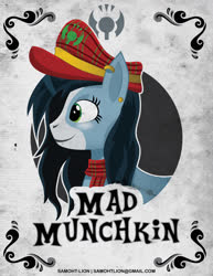 Size: 2550x3300 | Tagged: safe, artist:samoht-lion, oc, oc only, oc:mad munchkin, bust, clothes, ear piercing, earring, hat, jewelry, piercing, scarf, smiling, solo, text