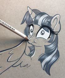Size: 1703x2048   Tagged: safe, artist:emberslament, twilight sparkle, alicorn, pony, blushing, boop, colored pencil drawing, colored pencils, cute, female, fourth wall, mare, photo, scrunchy face, traditional art, twilight sparkle (alicorn)