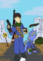 Size: 1451x2048   Tagged: safe, alternate version, artist:omegapony16, human, pony, unicorn, bag, belt, boots, clothes, colored, fallout, glowing horn, gun, horn, magic, male, pipbuck, shoes, shotgun, sign, stallion, tank (vehicle), telekinesis, vault suit, weapon