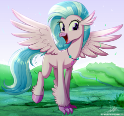 Size: 1871x1742 | Tagged: safe, artist:the-butch-x, silverstream, classical hippogriff, hippogriff, cheerful, claws, cute, diastreamies, excited, female, jewelry, looking at you, necklace, open mouth, pearl necklace, quadrupedal, smiling, solo, spread wings, talons, teenager, unshorn fetlocks, walking, wings