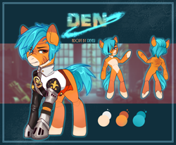 Size: 2036x1680 | Tagged: safe, artist:dodo, oc, oc only, oc:den, earth pony, pony, armor, clothes, guard, looking at you, male, reference, reference sheet, shirt, solo, stallion