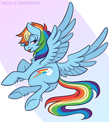 Size: 1300x1450 | Tagged: safe, artist:medix, derpibooru exclusive, rainbow dash, pegasus, pony, butt, cutie mark, featureless crotch, female, flowing mane, looking at you, looking back, mare, on side, plot, solo, spread wings, tail, tongue out, underhoof, unshorn fetlocks, wings