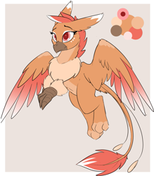 Size: 1231x1408 | Tagged: safe, artist:beardie, oc, oc only, oc:raaz, griffon, adoptable, female, gray background, griffon oc, no source available, reference, simple background, solo