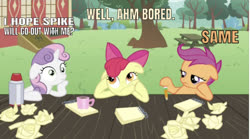 Size: 642x357 | Tagged: safe, edit, edited screencap, editor:undeadponysoldier, screencap, apple bloom, scootaloo, sweetie belle, earth pony, pegasus, pony, unicorn, ponyville confidential, bored, bow, coffee, crush, cutie mark crusaders, female, filly, implied shipping, implied spike, implied spikebelle, implied straight, mug, note pad, one of these things is not like the others, paper, paper ball, pencil, thinking