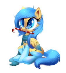 Size: 1430x1585   Tagged: safe, artist:ravensunart, oc, oc only, oc:soundful symphony, pegasus, pony, candy, candy cane, christmas, clothes, commission, cute, female, food, glasses, holiday, mare, mouth hold, ocbetes, part of a set, scarf, simple background, sitting, socks, thigh highs, white background, ych result