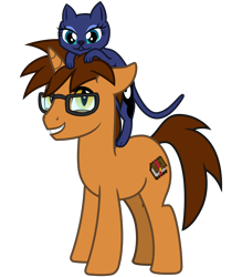 Size: 2800x3200   Tagged: safe, artist:cheezedoodle96, princess luna, oc, oc:knowledge mixing, cat, pony, unicorn, 2020 community collab, derpibooru community collaboration, .svg available, catified, duo, enchanted, female, floppy ears, glasses, male, minecraft, race swap, simple background, smiling, solo, species swap, stallion, svg, transparent background, vector