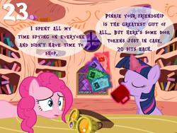 Size: 1024x768   Tagged: safe, artist:bronybyexception, pinkie pie, twilight sparkle, earth pony, pony, advent calendar, book, book token, bookshelf, drinking, golden oaks library, mug, safety goggles, token