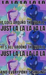 Size: 572x924 | Tagged: safe, edit, edited screencap, editor:undeadponysoldier, screencap, princess cadance, princess celestia, princess luna, alicorn, pony, twilight's kingdom, around the world (la la la la la), atc, female, mare, singing, song reference