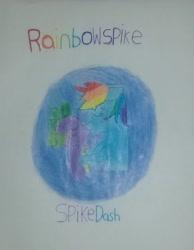 Size: 2232x2873 | Tagged: artist needed, safe, rainbow dash, spike, female, hug, kissing, male, rainbowspike, shipping, straight, traditional art