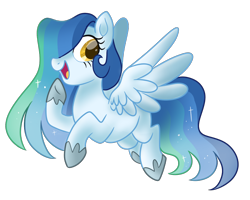 Size: 1250x1000 | Tagged: safe, artist:neondromeda, oc, pegasus, pony, adopted, ethereal mane, female, flying, hair over one eye, offspring, parent:noteworthy, parent:princess celestia, simple background, sparkly mane, transparent background