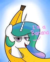 Size: 639x789   Tagged: safe, artist:handgunboi, princess celestia, alicorn, pony, banana, bananalestia, dialogue, female, food, meme, solo