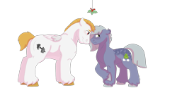 Size: 1280x640 | Tagged: safe, artist:itstechtock, bulk biceps, limestone pie, pony, female, holly, holly mistaken for mistletoe, limebulk, male, shipping, simple background, straight, transparent background