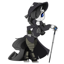 Size: 437x437   Tagged: safe, artist:crimmharmony, oc, oc:shadow spade, pony, unicorn, fallout equestria, armor, armored legs, beauty mark, bipedal, black eyeshadow, blank, blank of rarity, blue eyes, clothes, commissioner:genki, fallout equestria: kingpin, fedora, female, hat, mare, noir, not rarity, pipboy, pipbuck, shoes, solo, swordstick, trenchcoat, unicorn oc