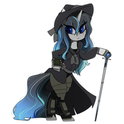 Size: 437x437 | Tagged: safe, artist:crimmharmony, oc, oc:frontier justice, oc:shadow spade, pony, unicorn, fallout equestria, armor, armored legs, beauty mark, bipedal, black eyeshadow, blank, blank of rarity, blue eyes, clothes, commissioner:genki, detective, fallout equestria: kingpin, fedora, female, hat, mane highlights, mare, messy mane, mutation, noir, not rarity, pipboy, pipbuck, scar, shoes, solo, split-personality merge, swordstick, trenchcoat, unicorn oc, wet mane
