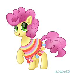 Size: 1280x1336   Tagged: safe, artist:neondromeda, li'l cheese, earth pony, pony, the last problem, clothes, cute, female, li'l cheesebetes, looking at you, older, older li'l cheese, open mouth, poncho, raised hoof, simple background, smiling, solo, transparent background
