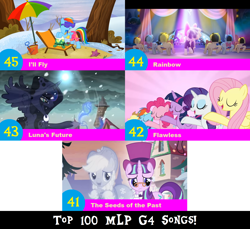 Size: 1704x1560 | Tagged: safe, artist:don2602, edit, edited screencap, screencap, applejack, fluttershy, pinkie pie, princess luna, rainbow dash, rarity, snowfall frost, songbird serenade, spirit of hearth's warming past, spirit of hearth's warming yet to come, starlight glimmer, tank, twilight sparkle, alicorn, earth pony, pegasus, pony, tortoise, unicorn, a hearth's warming tail, fame and misfortune, my little pony: the movie, tanks for the memories, spoiler:my little pony movie, backup dancers, blizzard, cloak, clothes, eyes closed, flawless, glasses, hat, i'll fly, lounge chair, luna's future, mane six, rainbow (song), raised hoof, seeds of the past, shorts, snow, snowfall, top 100 mlp g4 songs, top hat, twilight sparkle (alicorn), umbrella
