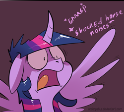 Size: 1193x1077 | Tagged: safe, artist:underpable, edit, twilight sparkle, alicorn, pony, school raze, blush sticker, blushing, bow, bust, comic, cropped, curved horn, cute, descriptive noise, evil, female, filly, freckles, gasp, golly, grin, horn, horse noises, implied cozy glow, mare, onomatopoeia, open mouth, pure concentrated unfiltered evil of the utmost potency, pure unfiltered evil, reaction image, shocked, smiling, twilight sparkle (alicorn)