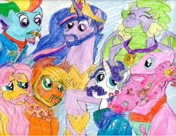 Size: 1024x792 | Tagged: safe, artist:brookellyn, applejack, fluttershy, pinkie pie, rainbow dash, rarity, spike, twilight sparkle, alicorn, dragon, earth pony, pegasus, pony, unicorn, the last problem, applejack (male), barb, beard, bubble berry, butterscotch, dragoness, dusk shine, elusive, facial hair, female, gigachad spike, goatee, granny smith's scarf, king dusk shine, male, mane seven, mane six, moustache, older, older applejack, older applejack (male), older barb, older bubble berry, older butterscotch, older dusk shine, older elusive, older fluttershy, older mane seven, older mane six, older pinkie pie, older rainbow blitz, older rainbow dash, older rarity, older spike, older twilight, prince dusk, princess twilight 2.0, queen barb, rainbow blitz, rule 63, stallion, traditional art, twilight sparkle (alicorn), winged barb, winged spike